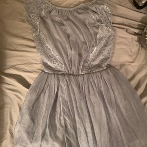ASOS Petites gray tulle/lace backless dress